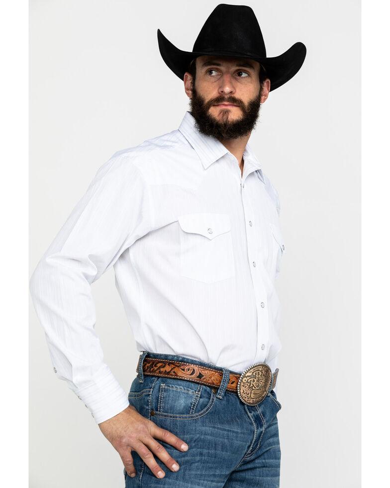 Panhandle Men's White Lurex Stripe Long Sleeve Western Shirt , Light Grey, hi-res