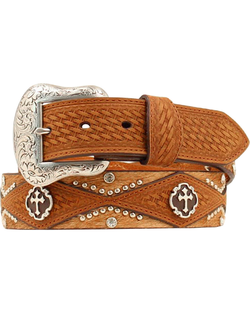 Nocona Cross Concho Basketweave & Hair-on Hide Western Belt, Brown, hi-res