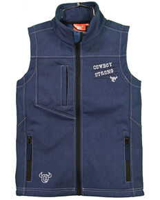 Cowboy Hardware Boys' Cowboy Strong Poly Shell Vest , Navy, hi-res