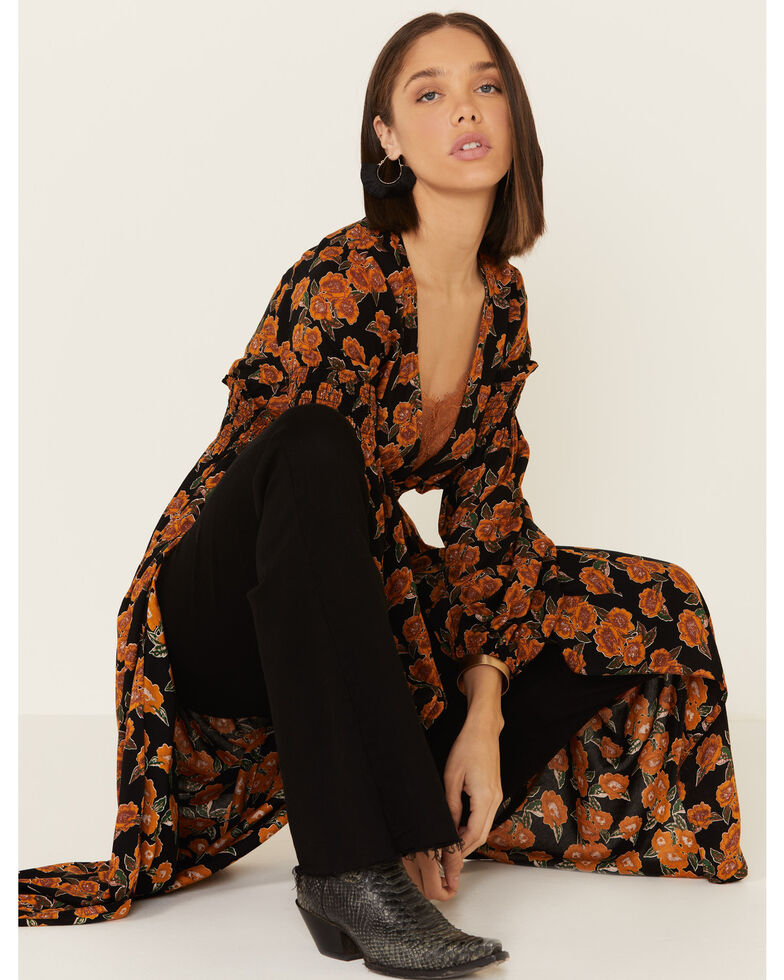 Rock & Roll Denim Women's Rust Floral Printed Duster , Rust Copper, hi-res