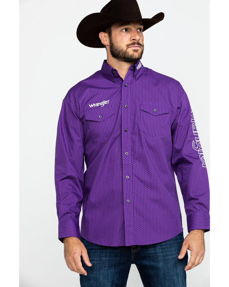 Wrangler Men's Small Geo Print Long Sleeve Western Shirt , Purple, hi-res