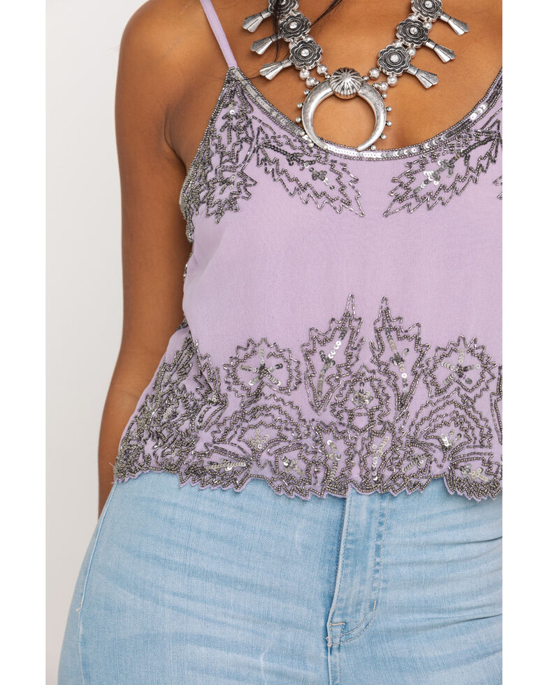 Angie Women's Lilac Beaded Cami, Light Purple, hi-res
