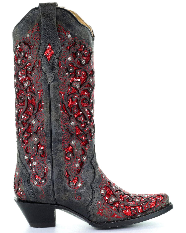 black sparkle cowboy boots