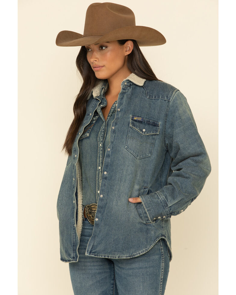 STS Ranchwear Women's Cliffdale Sherpa Lined Denim Shirt Jacket , Blue, hi-res