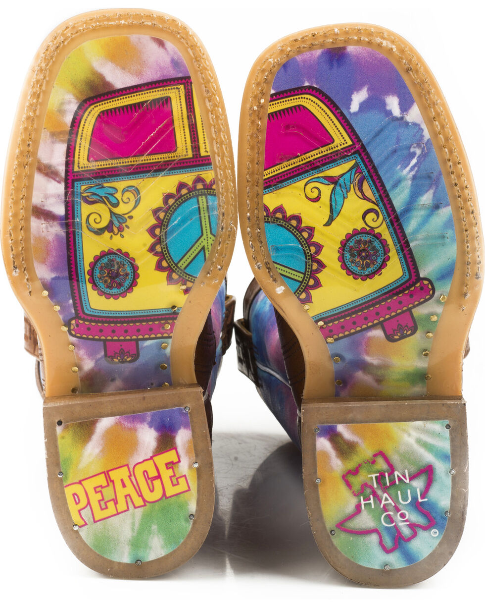 Tin Haul Girls' Peace Out Love Sole Cowgirl Boots - Square Toe, , hi-res
