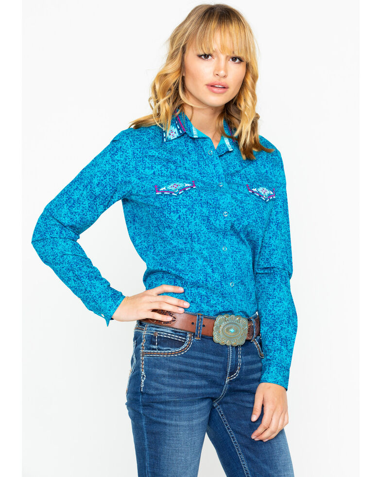 Panhandle Women's Rainey Vintage Long Sleeve Western Shirt, Teal, hi-res