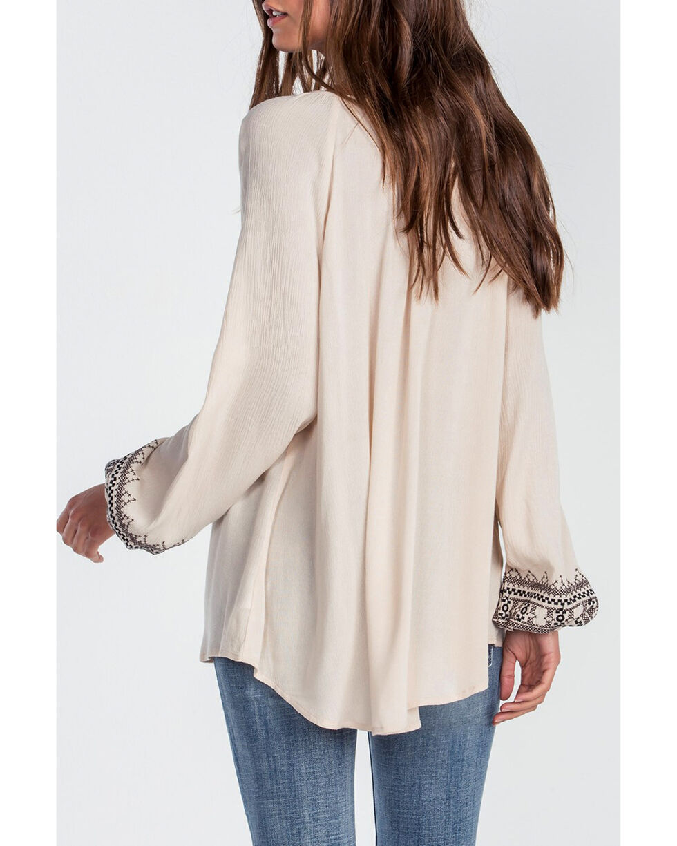 Miss Me Women's Chasing Dreams Long Sleeve Peasant Shirt, Taupe, hi-res