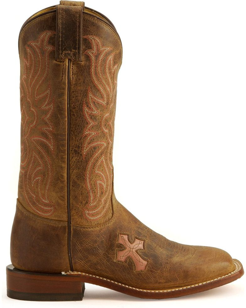 Tony Lama Women's Cross Inlay Western Boots, Tan, hi-res