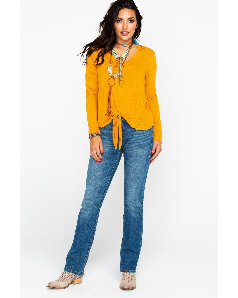 Eyeshadow Women's Front Tie Long Sleeve Knit Top, Dark Yellow, hi-res