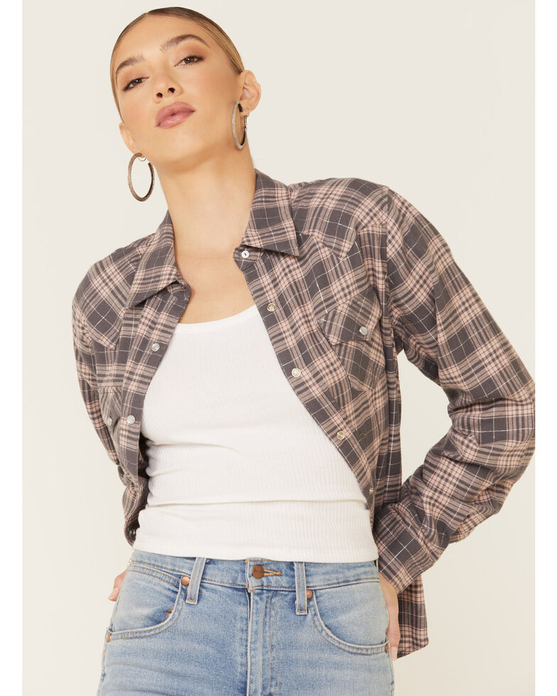 Nikki Erin Women's Charcoal Lurex Plaid Long Sleeve Western Flannel Shirt , Charcoal, hi-res
