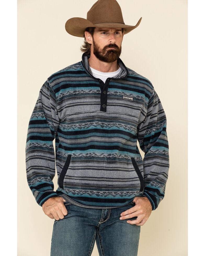 Cinch Men's Multi Dark Aztec Striped Polar Fleece Pullover Sweatshirt , Multi, hi-res