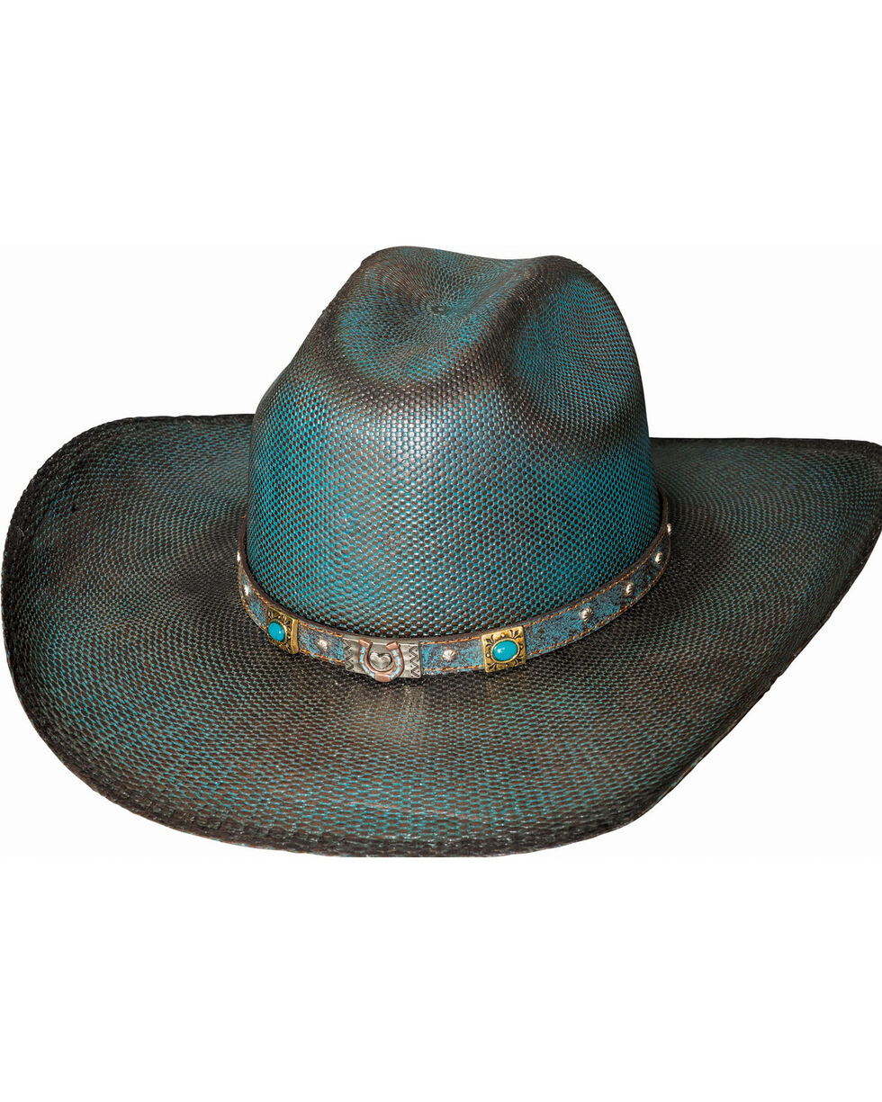 Bullhide Women's Wild Spirit Straw Hat , Blue, hi-res