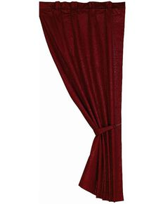 HiEnd Accents Cheyenne Tooled Faux Leather Curtain Panel, Red, hi-res