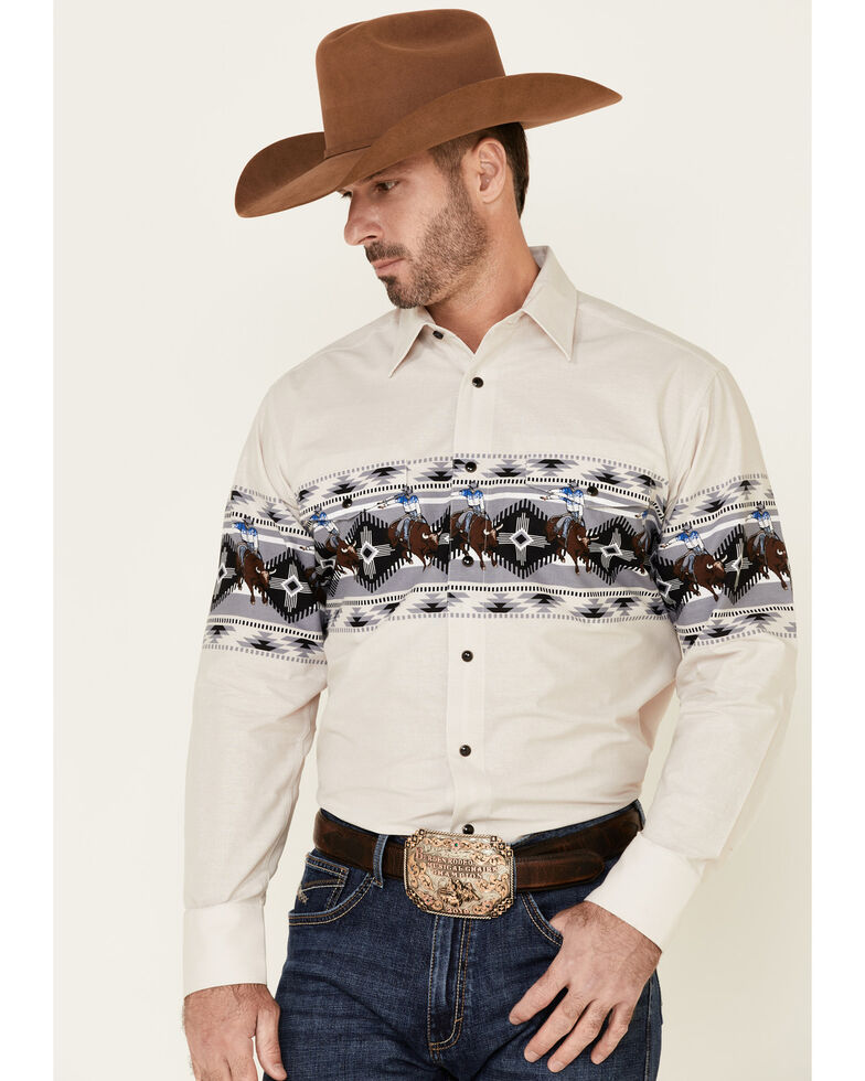 Panhandle Men's Natural Scenic Horse Aztec Border Print Long Sleeve Western Shirt , Tan, hi-res