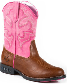 Roper Girls' Lightning Light-Up Western Boots, Tan, hi-res