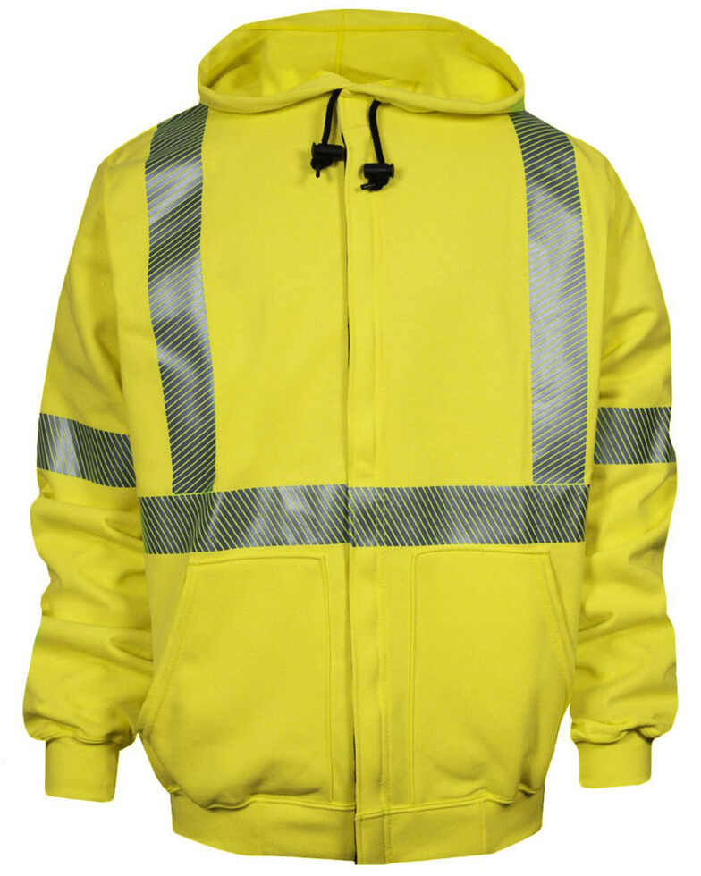 National Safety Apparel Men's 2X-3X FR Vizable Hi-Vis Zip Front Work Sweatshirt - Tall , Bright Yellow, hi-res