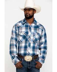 Resistol Men's Blue Dinosaur Valley Large Plaid Long Sleeve Western Shirt , Blue, hi-res