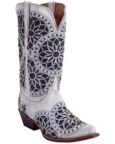 Ferrini Women's Mandala Cutout Studded Western Boots - Snip Toe, White, hi-res