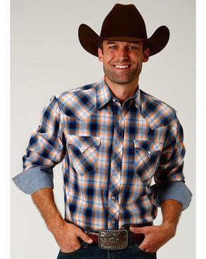 Roper Men's Orange Sky Dobby Long Sleeve Western Snap Shirt, Orange, hi-res