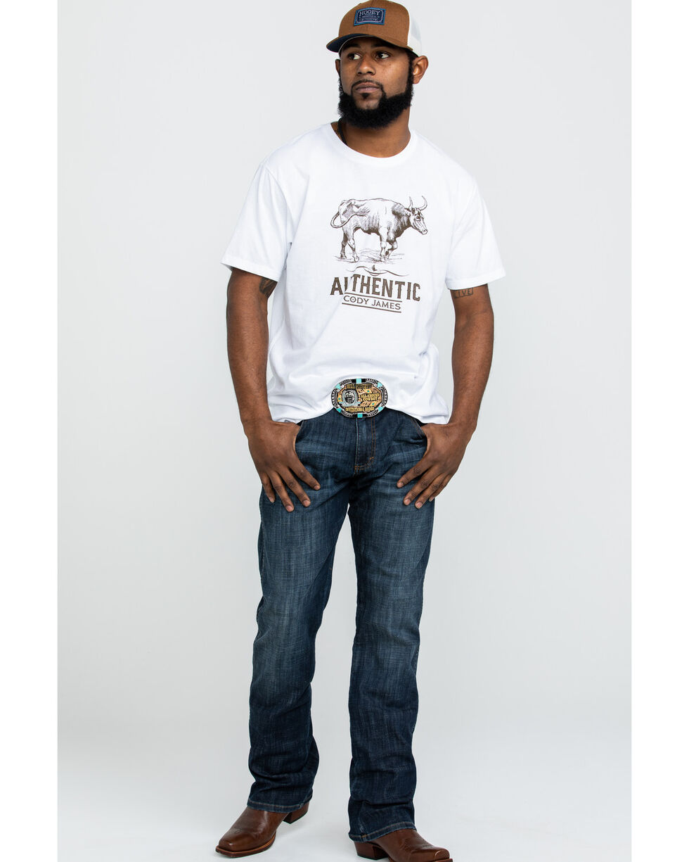 Cody James Men's Mustache Gallop Longhorn Graphic T-Shirt , White, hi-res