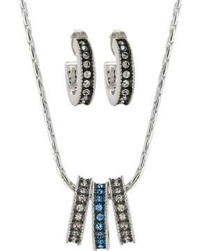 Montana Silversmiths Women's Rhinestone Charm Necklace Set, Silver, hi-res