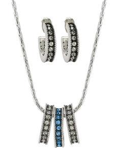 Montana Silversmiths Women's Rhinestone Charm Necklace Set, Silver, hi-res