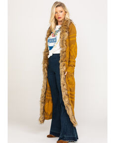 Show Me Your Mumu Women's Mustard Langston Textured Long Cardigan  , Dark Yellow, hi-res