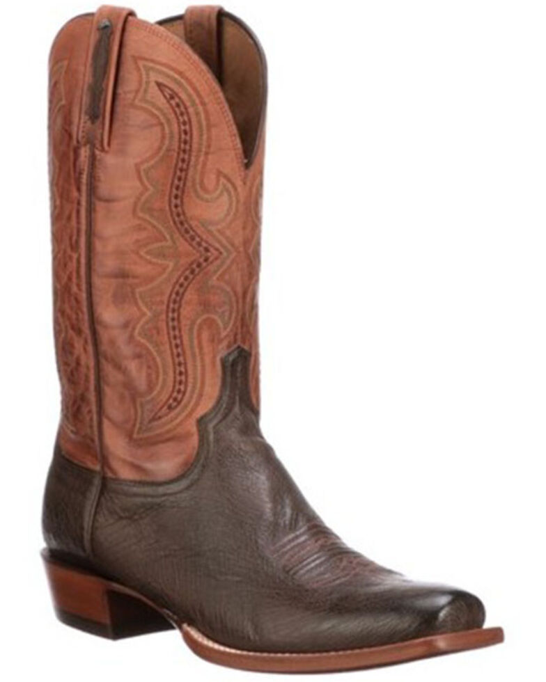 Lucchese Men's Brown Smooth Cecil Western Boots - Wide Square Toe, Brown, hi-res