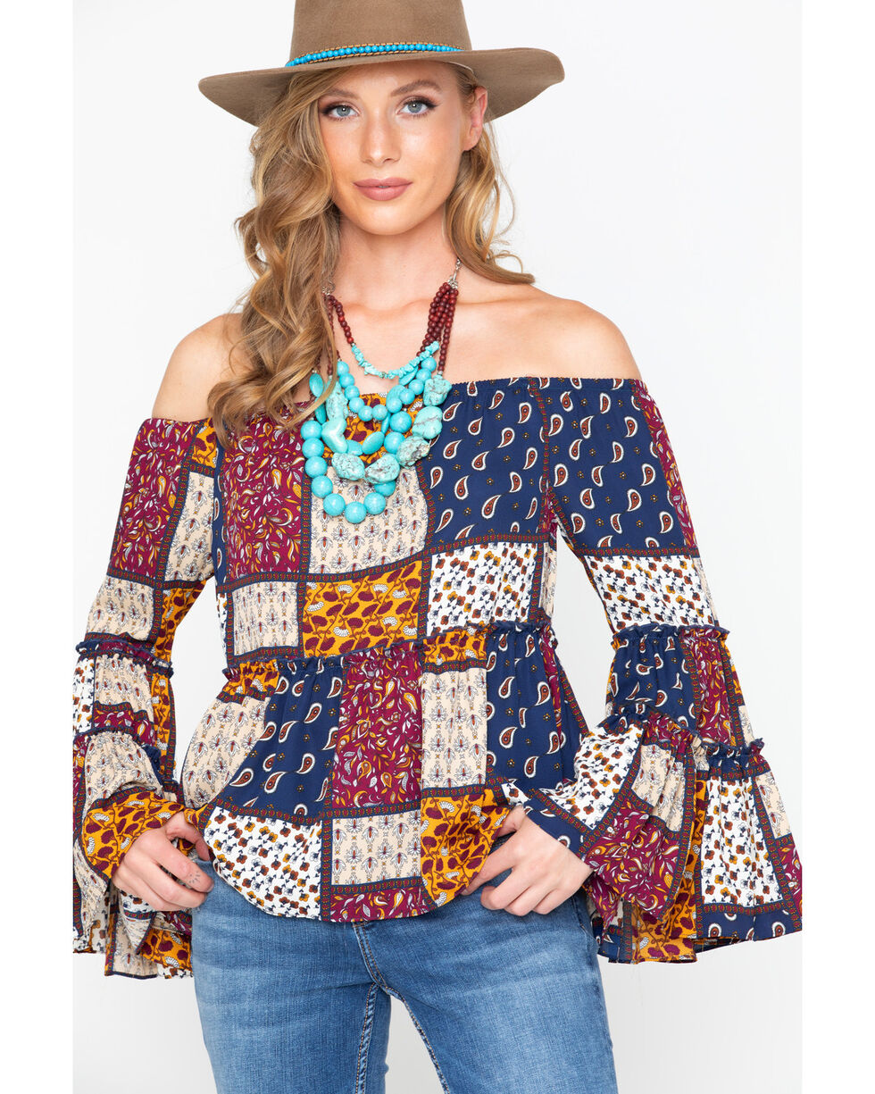 Moa Moa Women's Patchwork Off The Shoulder Bell Long Sleeve Top, Burgundy, hi-res