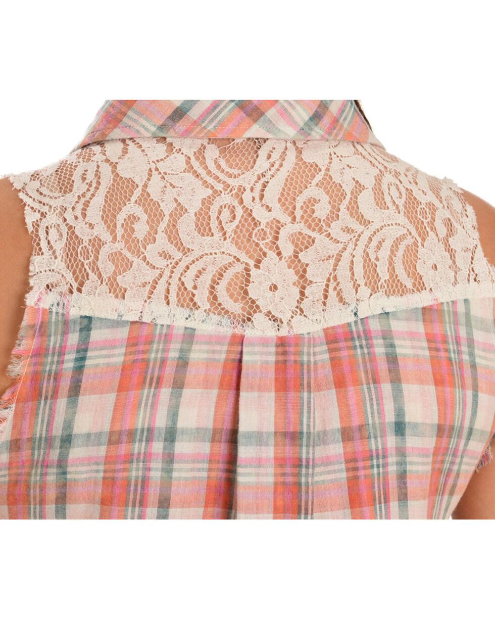 Miss Me Women's Plaid Sleeveless Shirt, Pink, hi-res