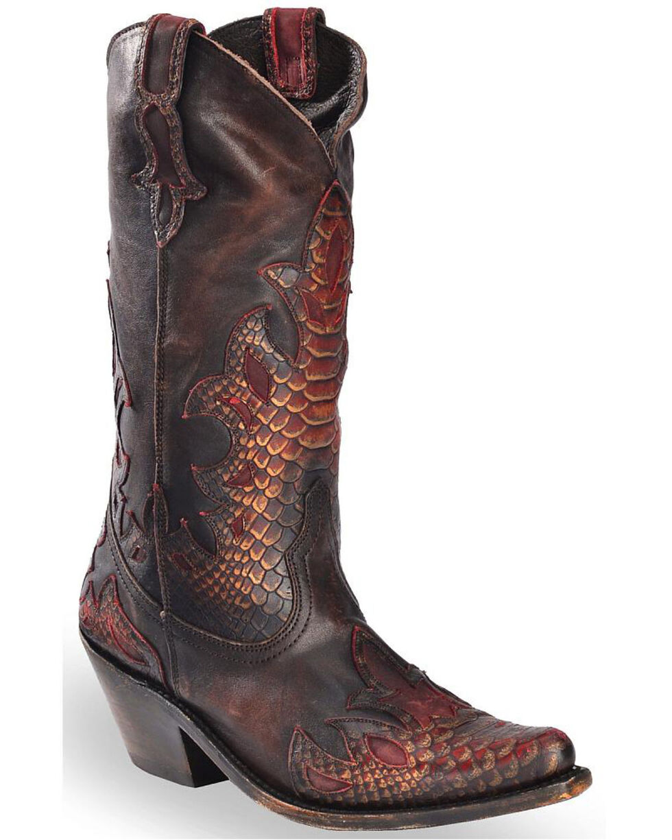 Liberty Black Women's Mossil Cafe Python Embossed Cowgirl Boots - Pointed Toe, Taupe, hi-res