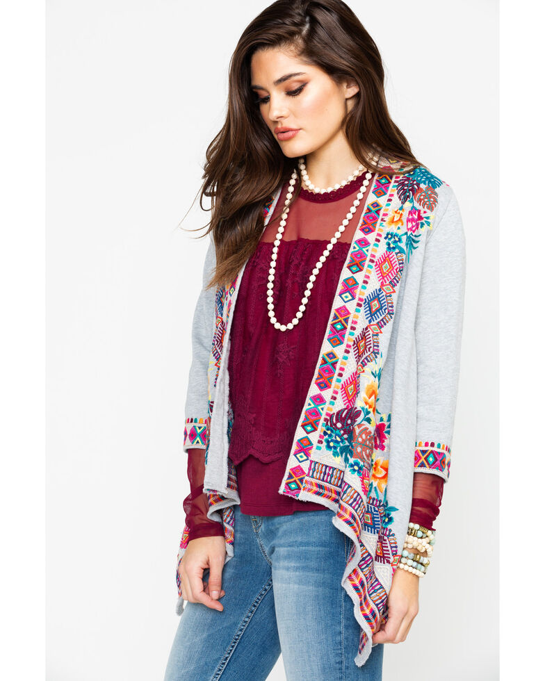 Johnny Was Women's French Terry Cardigan, Heather Grey, hi-res