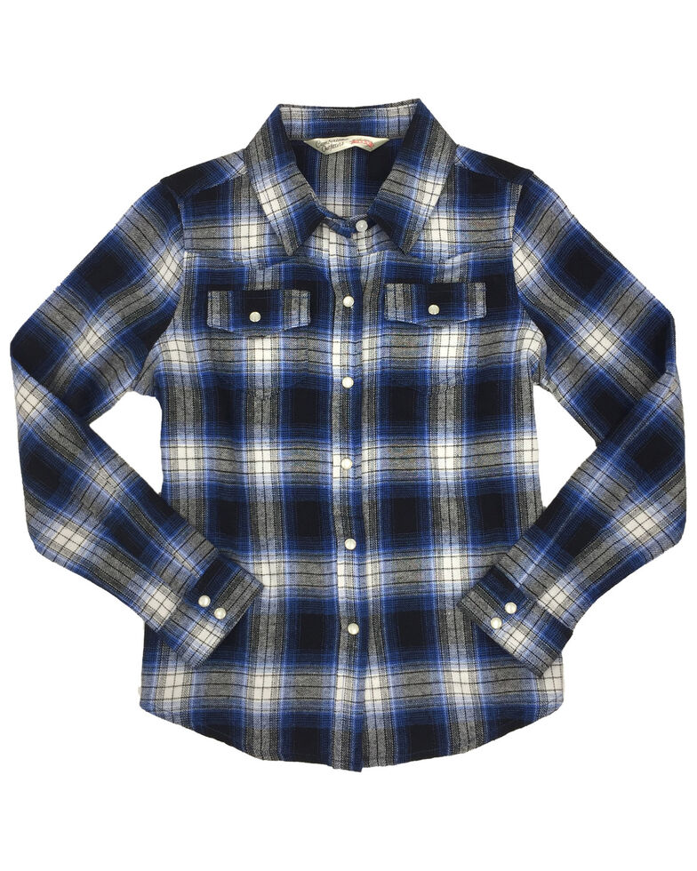 Ely Cattleman Girls' Cobalt Plaid Long Sleeve Western Flannel Shirt , Blue, hi-res