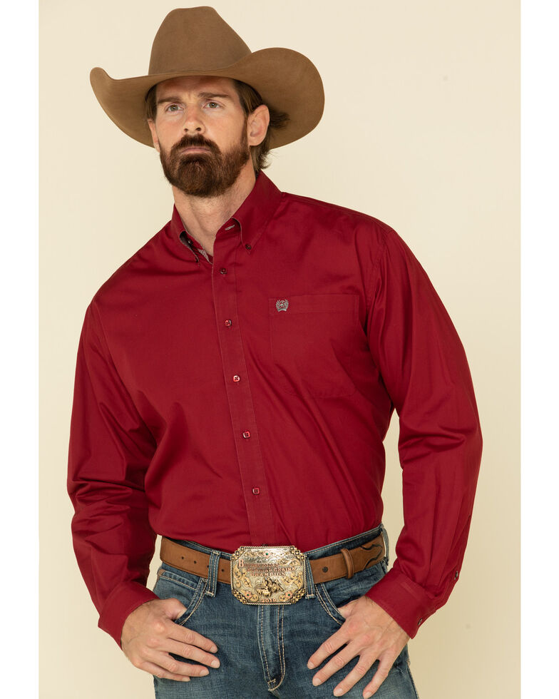 Cinch Men's Burgundy Solid Button Long Sleeve Western Shirt , Burgundy, hi-res