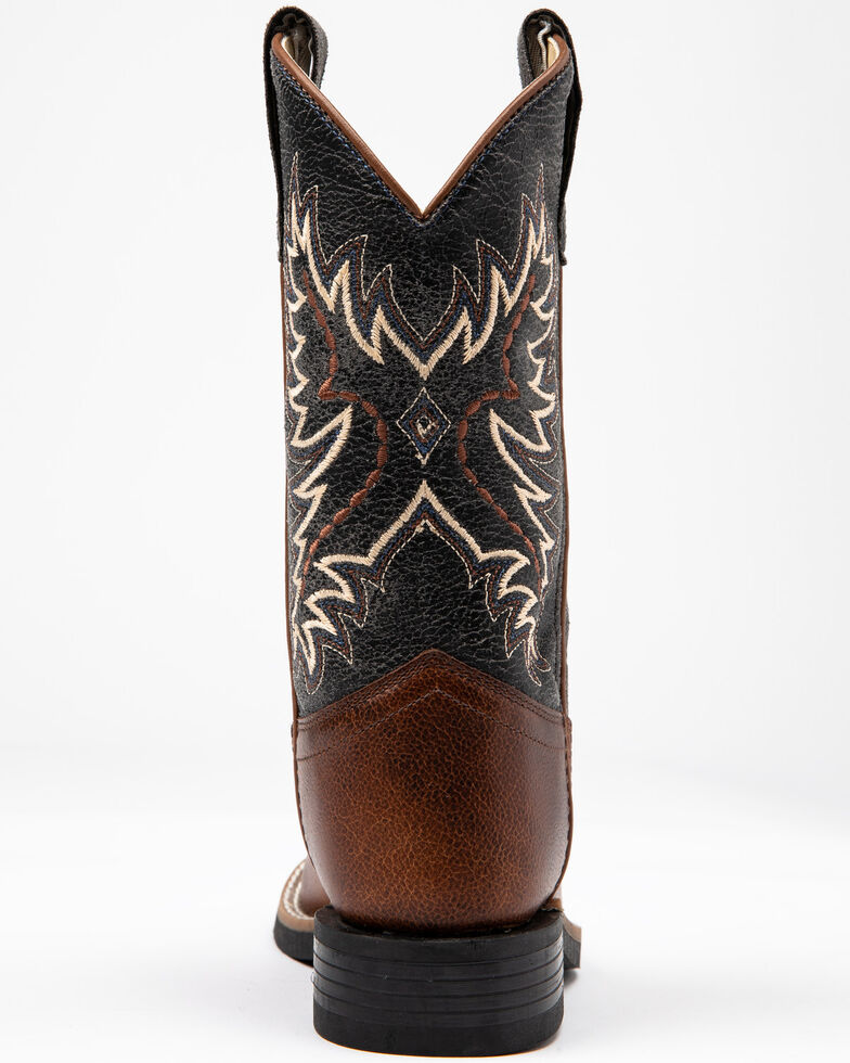 Cody James Boys' Leather Vamp Ryder Western Boots - Square Toe , Brown/blue, hi-res