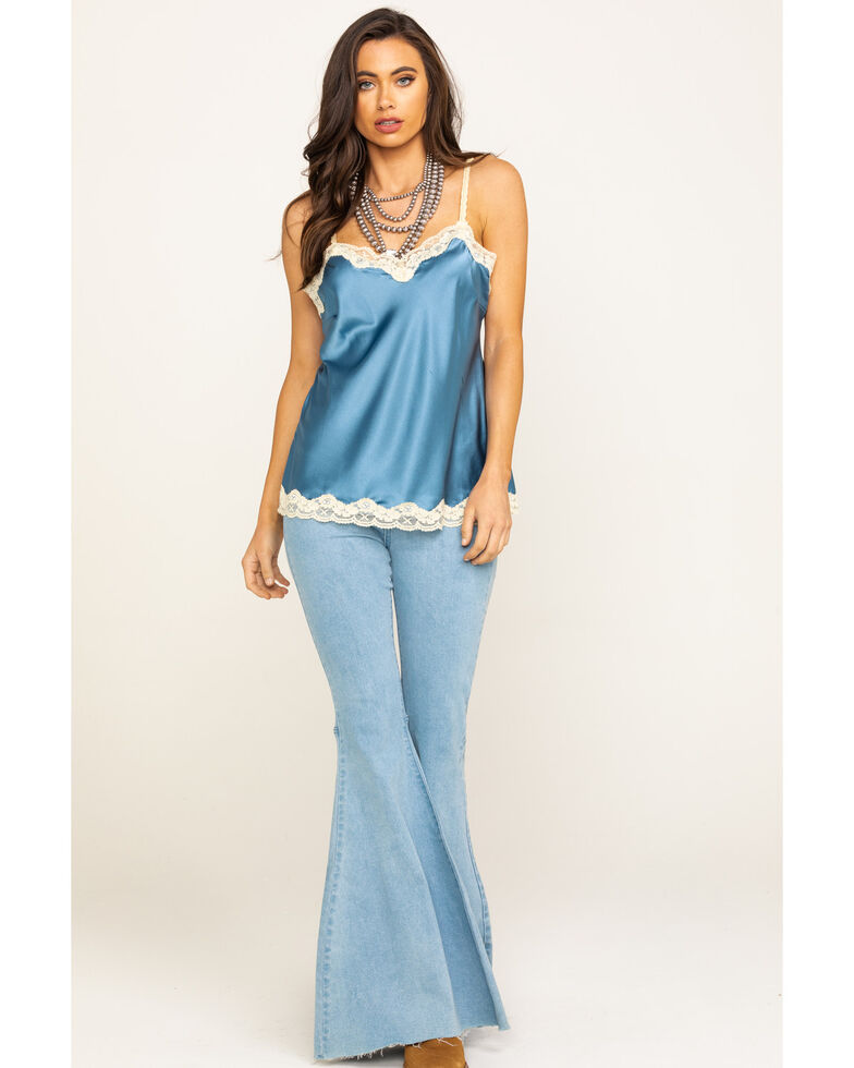 Aratta Women's Blue Silk Cami, Blue, hi-res