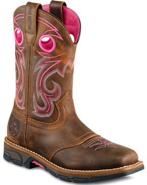 Red Wing Irish Setter Pink Marshall Work Boots - Soft Square Toe , Brown, hi-res