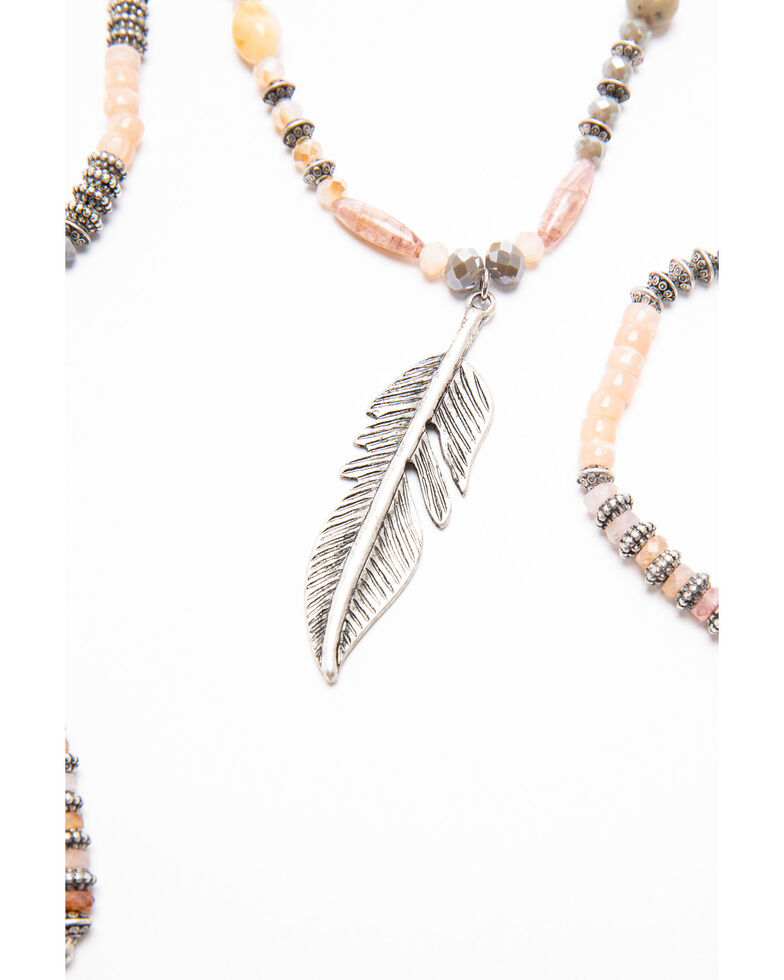 Shyanne Women's Moonlit Feather Beaded Wrap Jewelry Set , Silver, hi-res