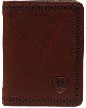 Ariat Men's Leather Bi-Fold Flipcase Wallet, Copper, hi-res