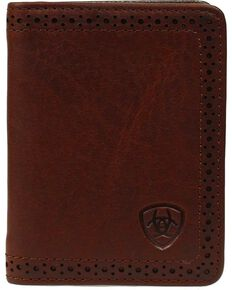 Ariat Men's Leather Bi-Fold Flipcase Wallet, Copper, hi-res