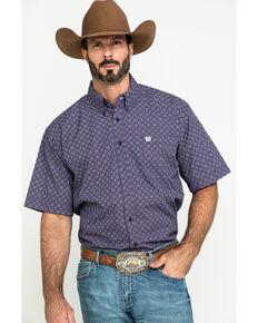 Cinch Men's Purple Diamond Geo Print Short Sleeve Western Shirt , Purple, hi-res