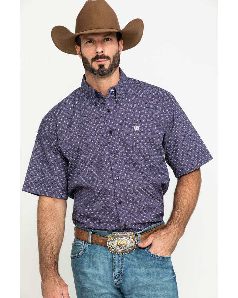 Cinch Men's Purple Diamond Geo Print Short Sleeve Western Shirt , Purple, hi-res