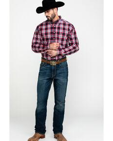 Cinch Men's Multi Small Plaid Button Short Sleeve Western Shirt , Purple, hi-res