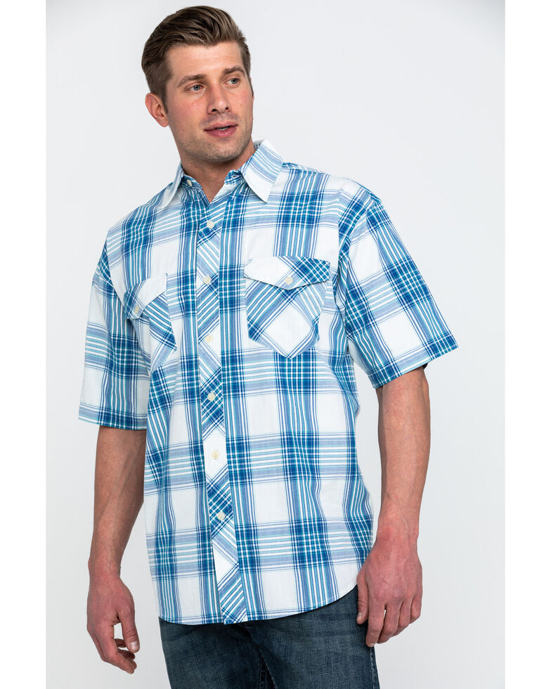 Resistol Men's Biscayne Large Plaid Short Sleeve Western Shirt , White, hi-res