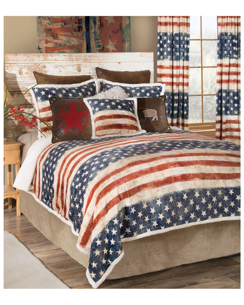 Carstens Home Wrangler Stars & Stripes USA 4- Piece American Flag Sherpa Bedding Set - King Size, Blue, hi-res