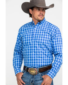 George Strait by Wrangler Men's Blue Small Plaid Long Sleeve Western Shirt , Blue, hi-res