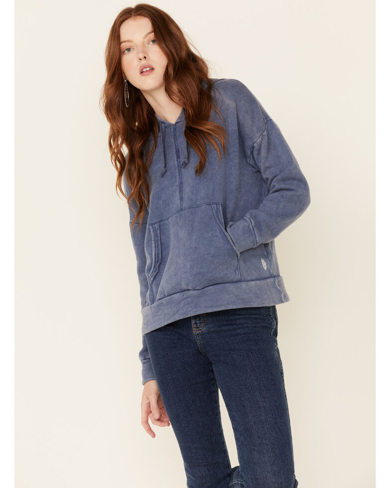 Free People Women's Work It Out Hooded Sweatshirt , Indigo, hi-res