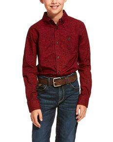 Ariat Boys' Dalanzo Paisley Print Long Sleeve Western Shirt , Red, hi-res