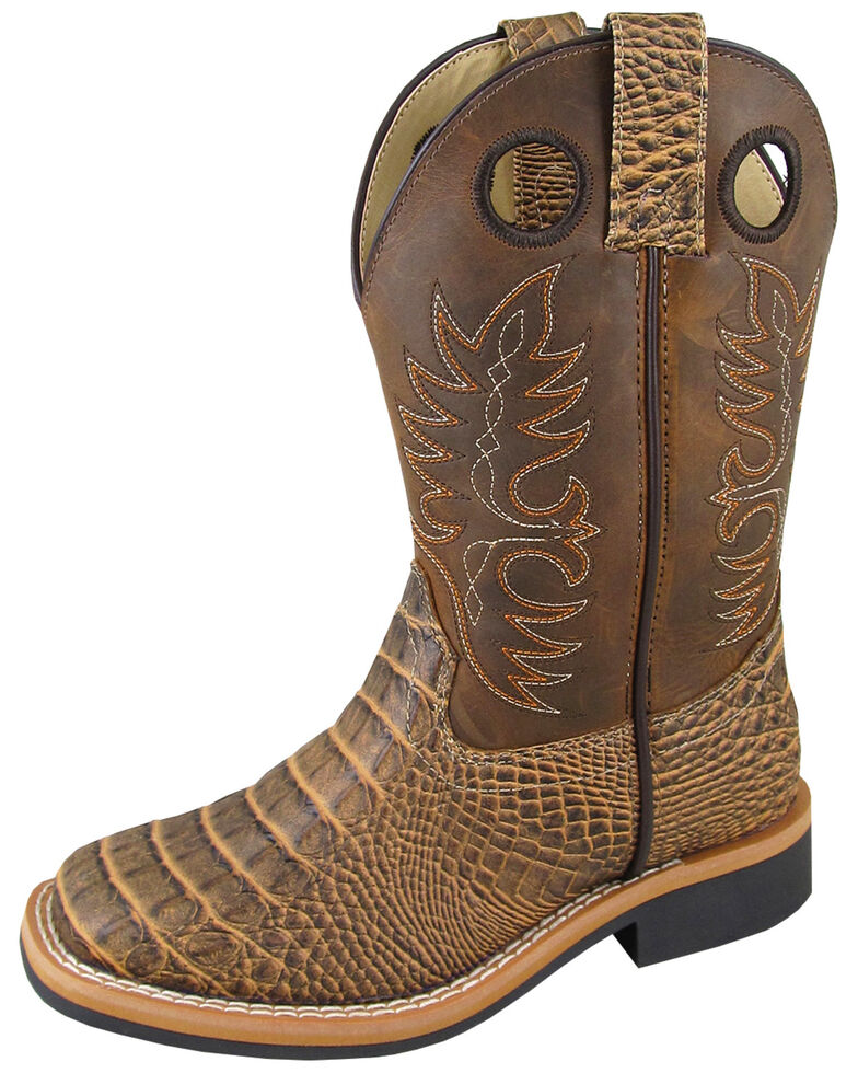 Smoky Mountain Youth Boys' Crazy Horse Faux Gator Western Boots - Square Toe, Brown, hi-res