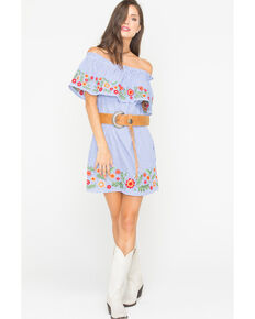 Miss Me Women's Spring To It Off-The-Shoulder Dress, Blue, hi-res
